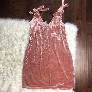 Nwot h&m divided velvet tie sleeve blush dress 14